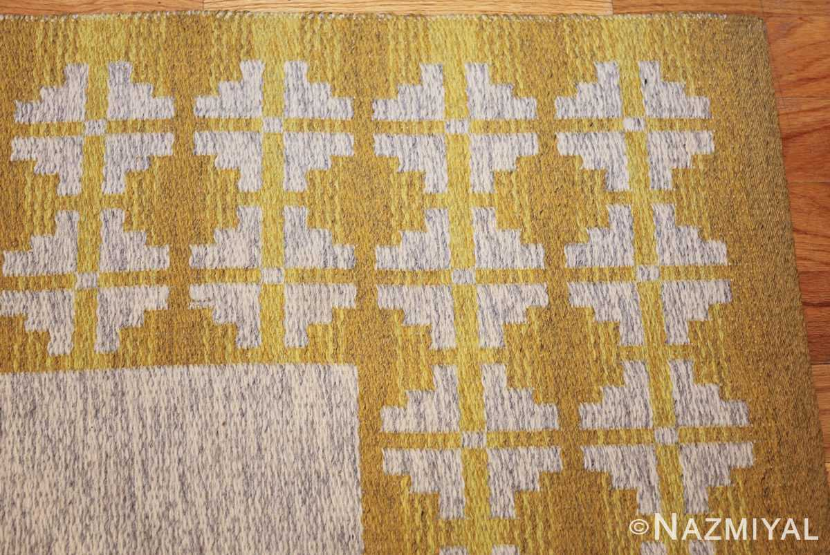 vintage swedish double sided kilim 46208 yellow corner Nazmiyal