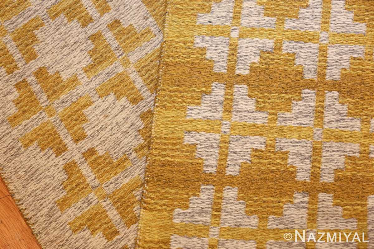 vintage swedish double sided kilim 46208 yellow weave Nazmiyal