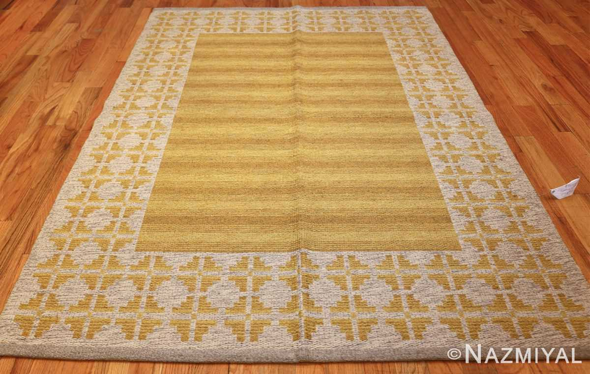 vintage swedish double sided kilim 46208 yellow whole Nazmiyal