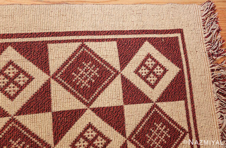 vintage swedish double sided kilim 46211 corner Nazmiyal