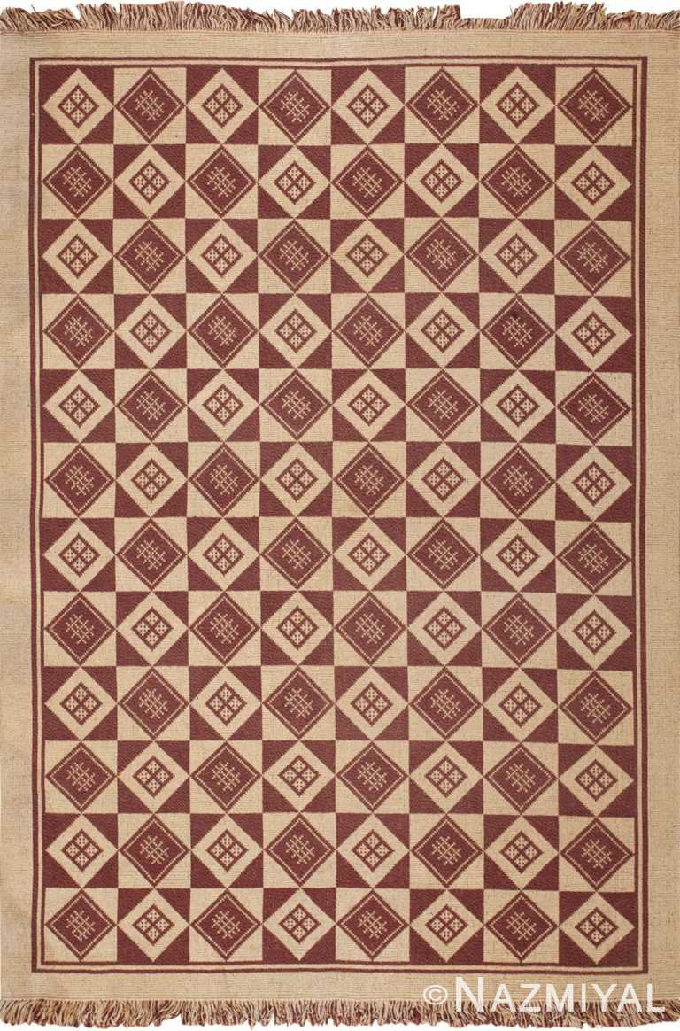 vintage swedish double sided kilim 46211 Nazmiyal