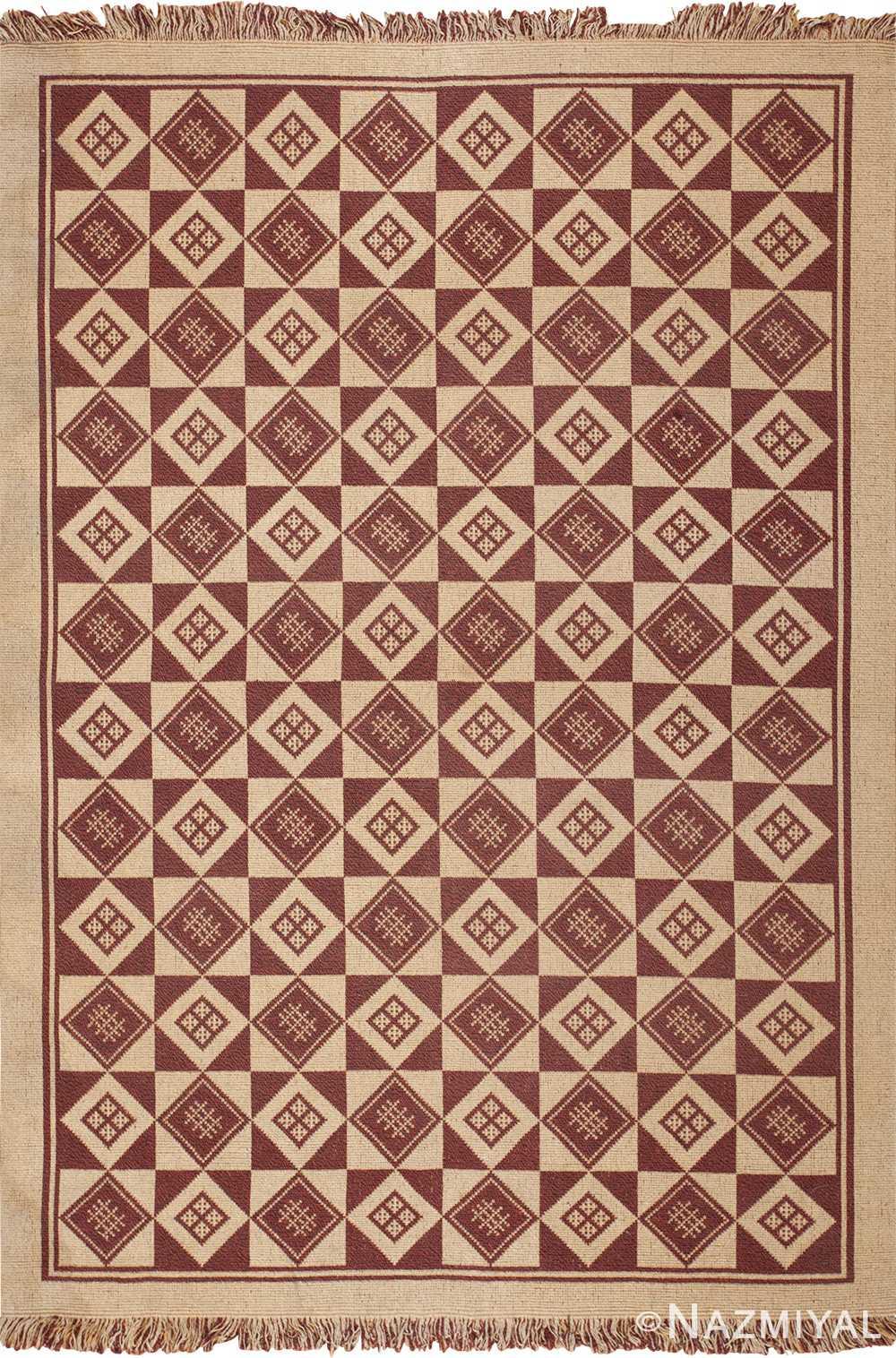 vintage swedish double sided kilim 46211 Nazmiyal