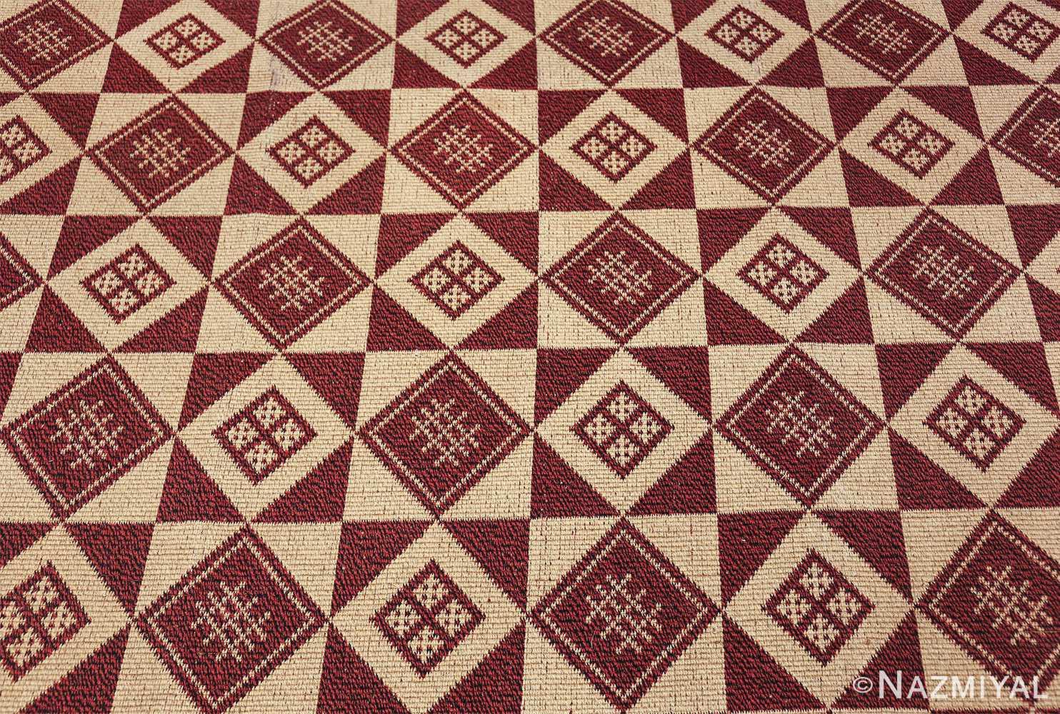 vintage swedish double sided kilim 46211 red field Nazmiyal