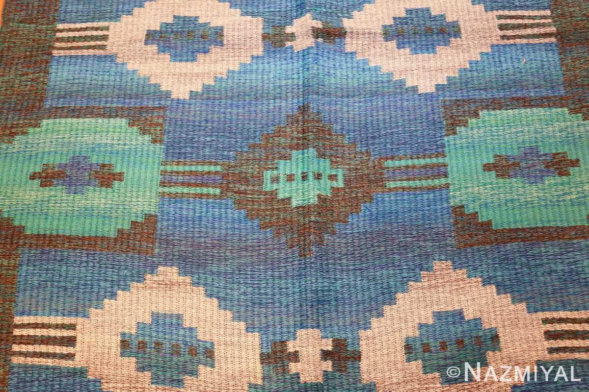 vintage swedish double sided rug 46212 blue Nazmiyal