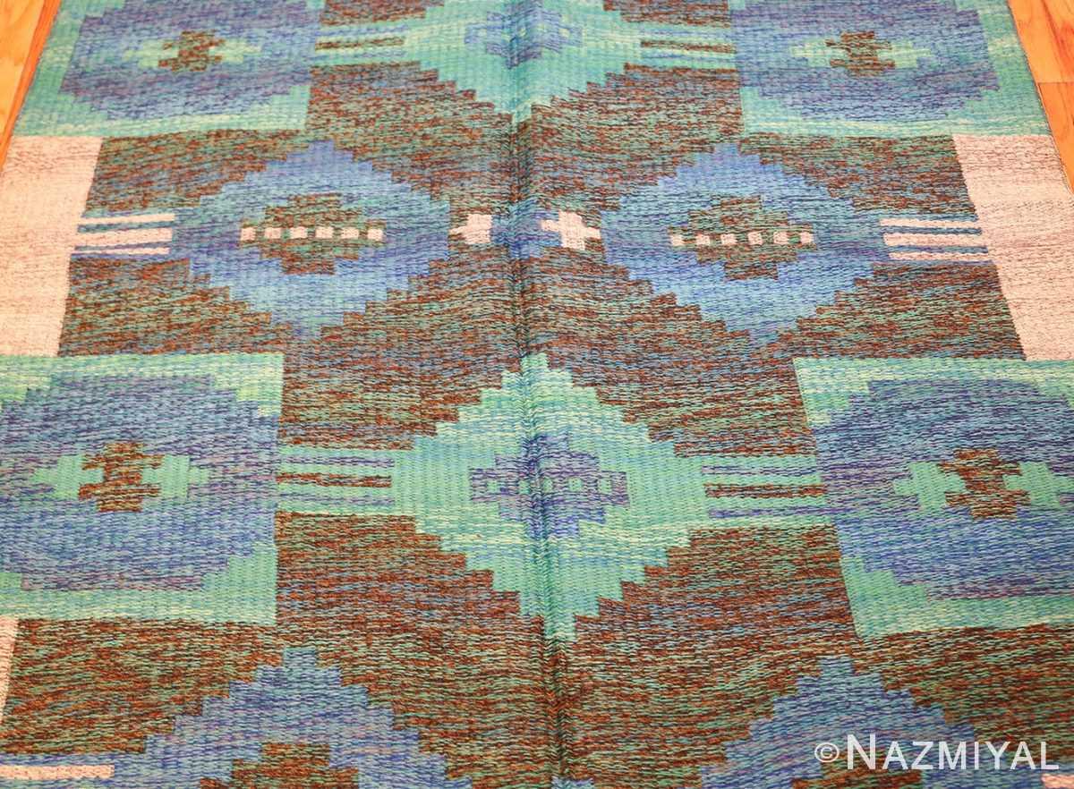 vintage swedish double sided rug 46212 green Nazmiyal