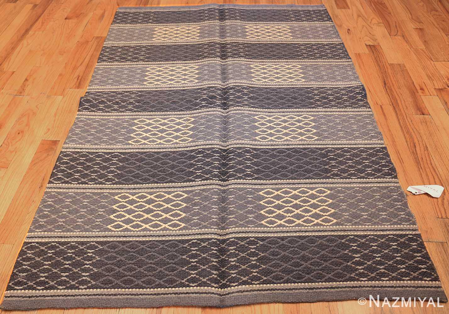 vintage swedish double sided rug 46236 dark whole Nazmiyal