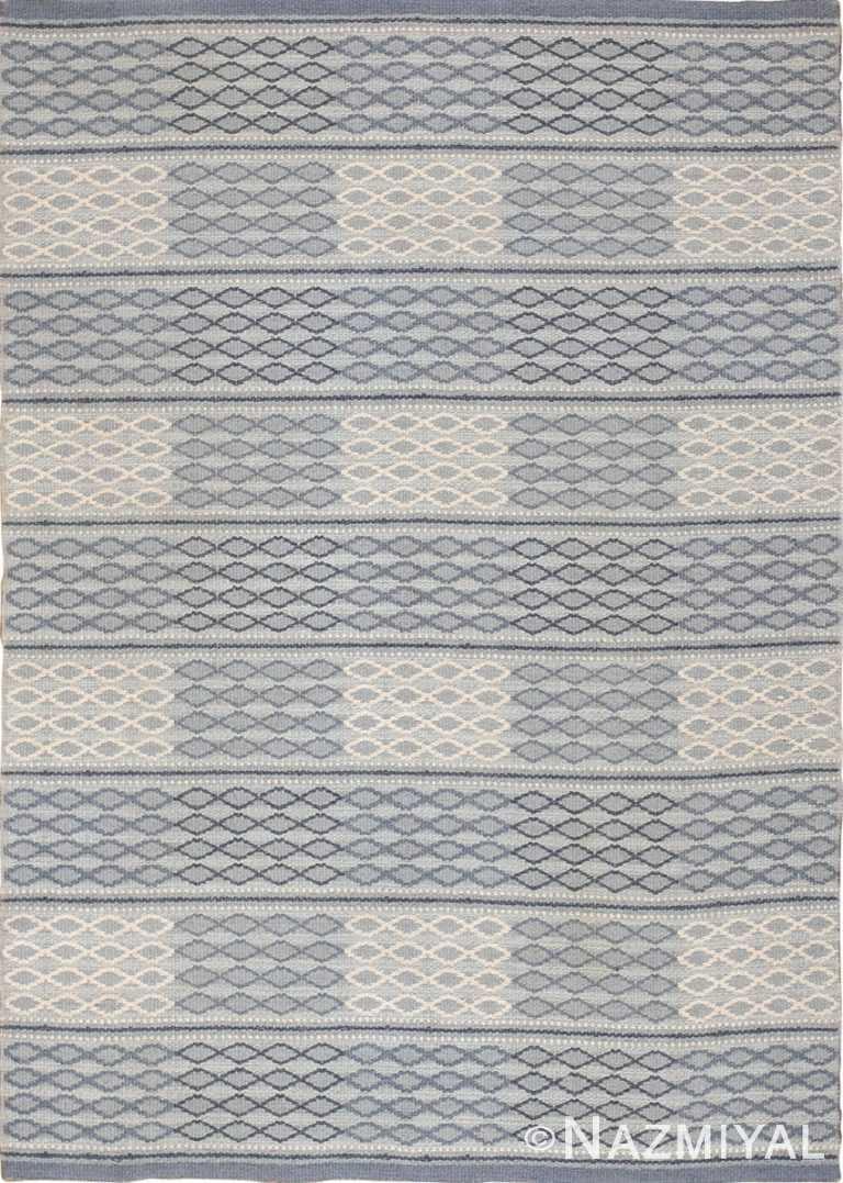 Grey Blue Vintage Swedish Double Sided Area Kilim Rug 46236 by Nazmiyal Antique Rugs