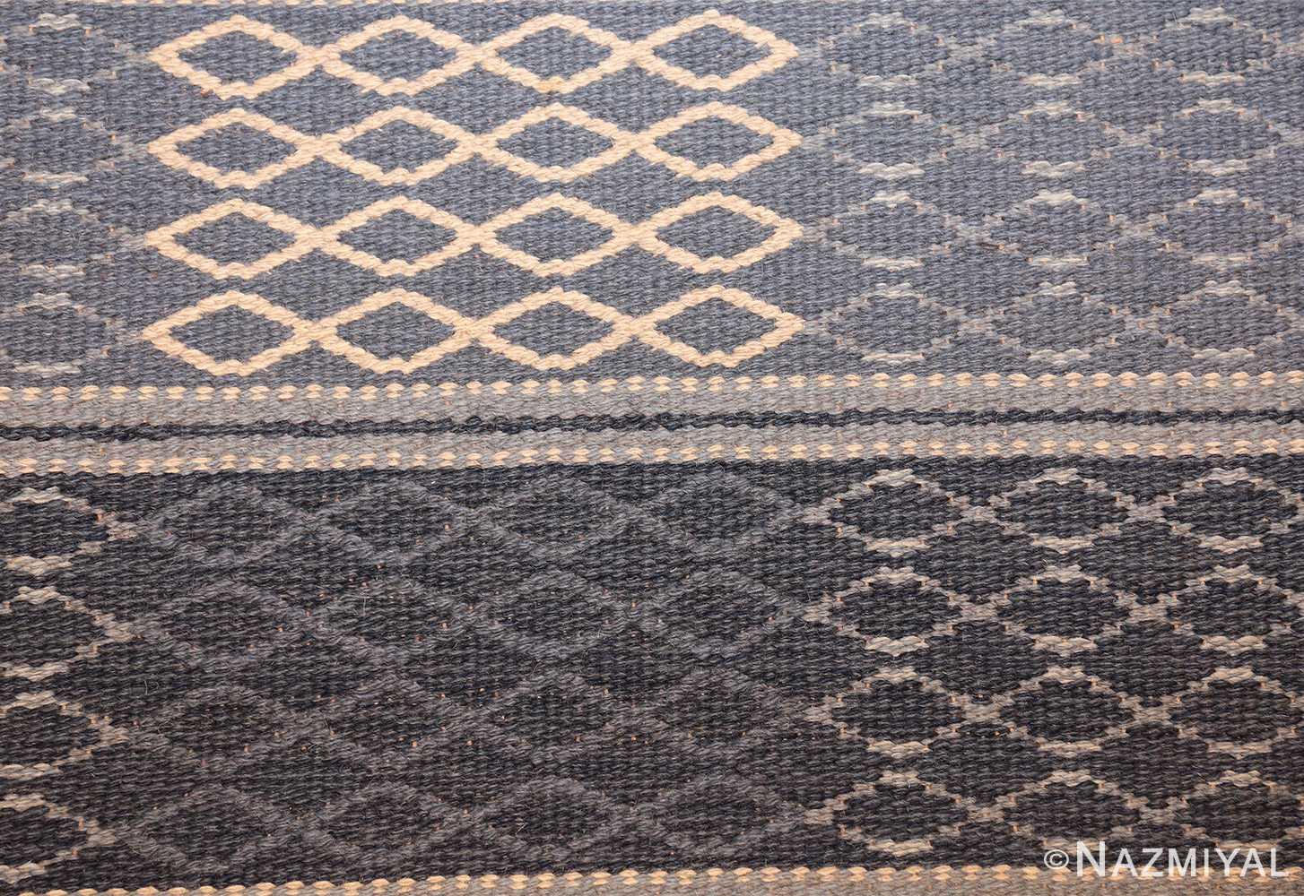 vintage swedish double sided rug 46236 white Nazmiyal