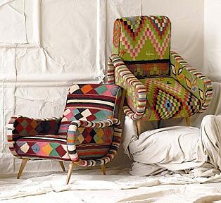Anthropologie Rugs Vintage Kilim Chairs - Nazmiyal