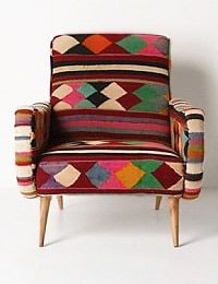 Anthropologie Vintage Kilim Rug Chair - Nazmiyal