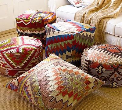 Vintage Kilim Poufs and Pillows - Nazmiyal