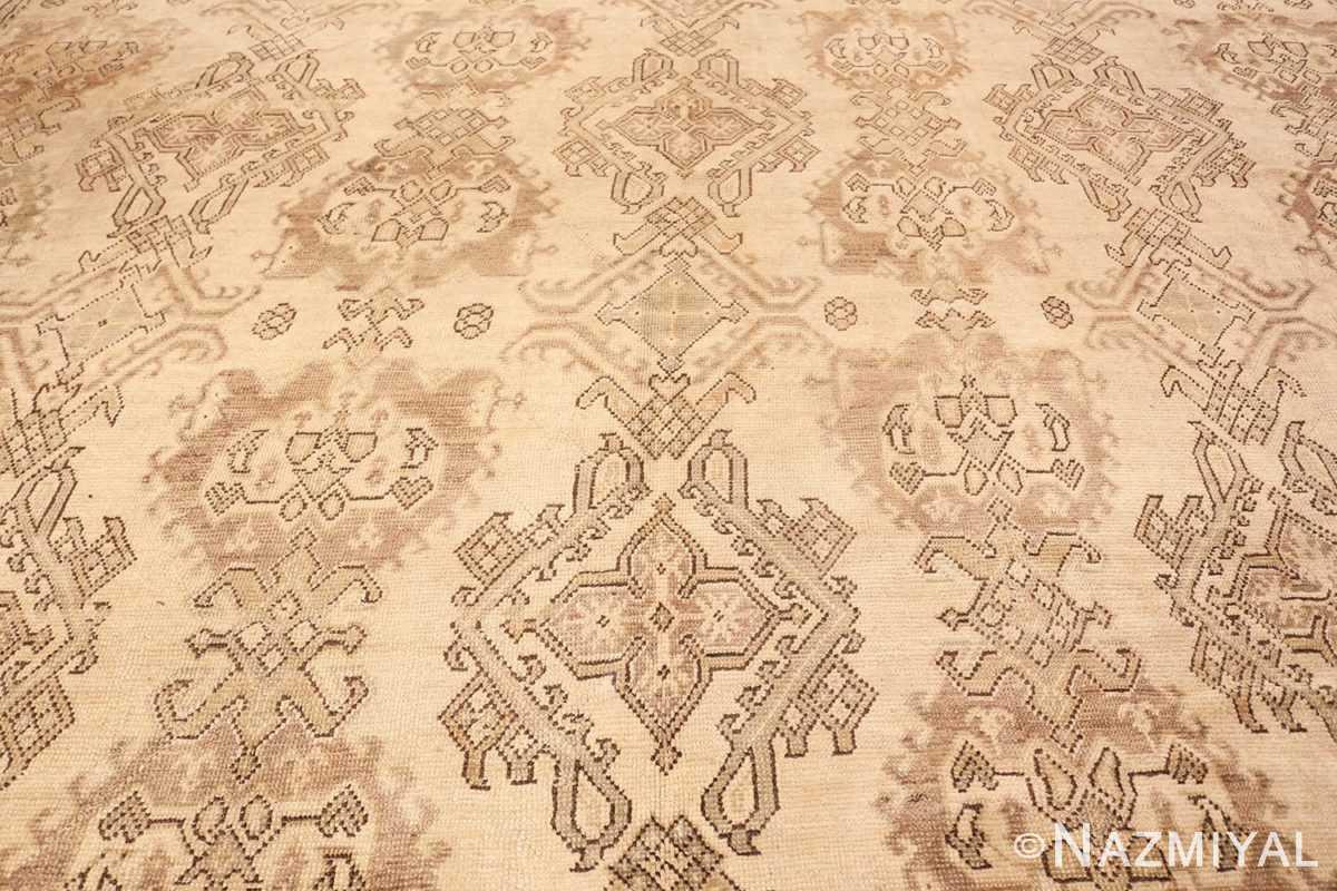 Background Large Square Antique Turkish Oushak carpet 45112 by Nazmiyal