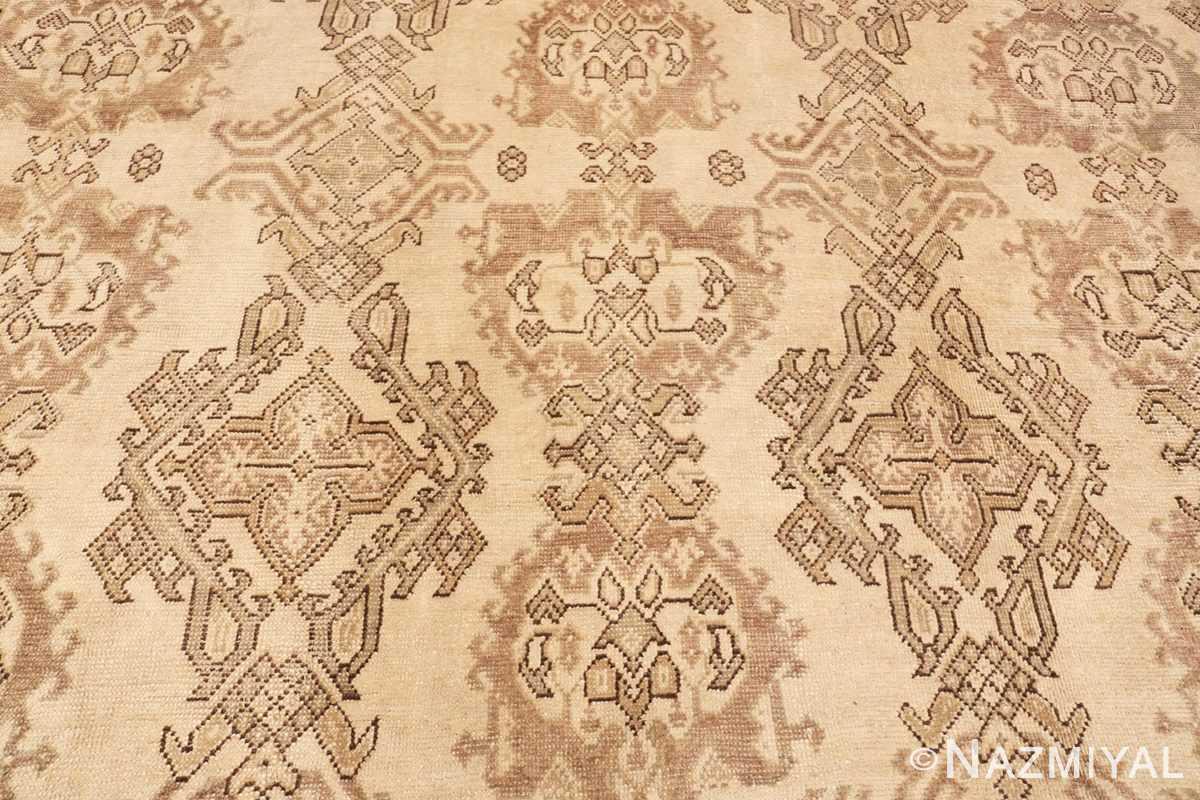Close-up Large Square Antique Turkish Oushak carpet 45112 by Nazmiyal