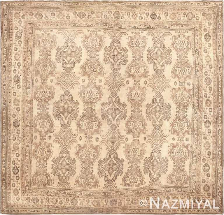 Neutral Large Square Antique Turkish Oushak Area Rug #45112 by Nazmiyal Antique Rugs