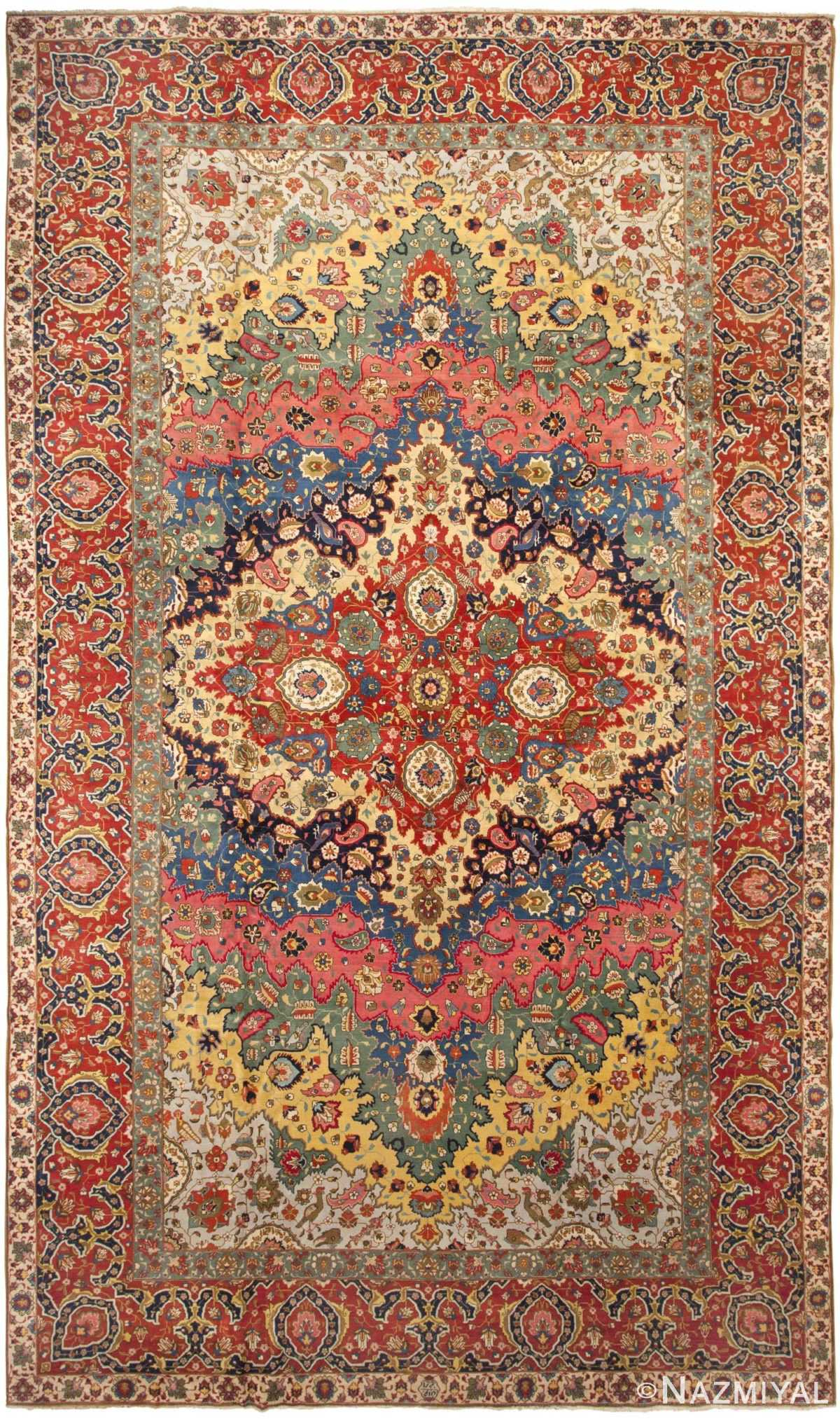 Antique Persian Tabriz Rug 46383 Detail/Large View