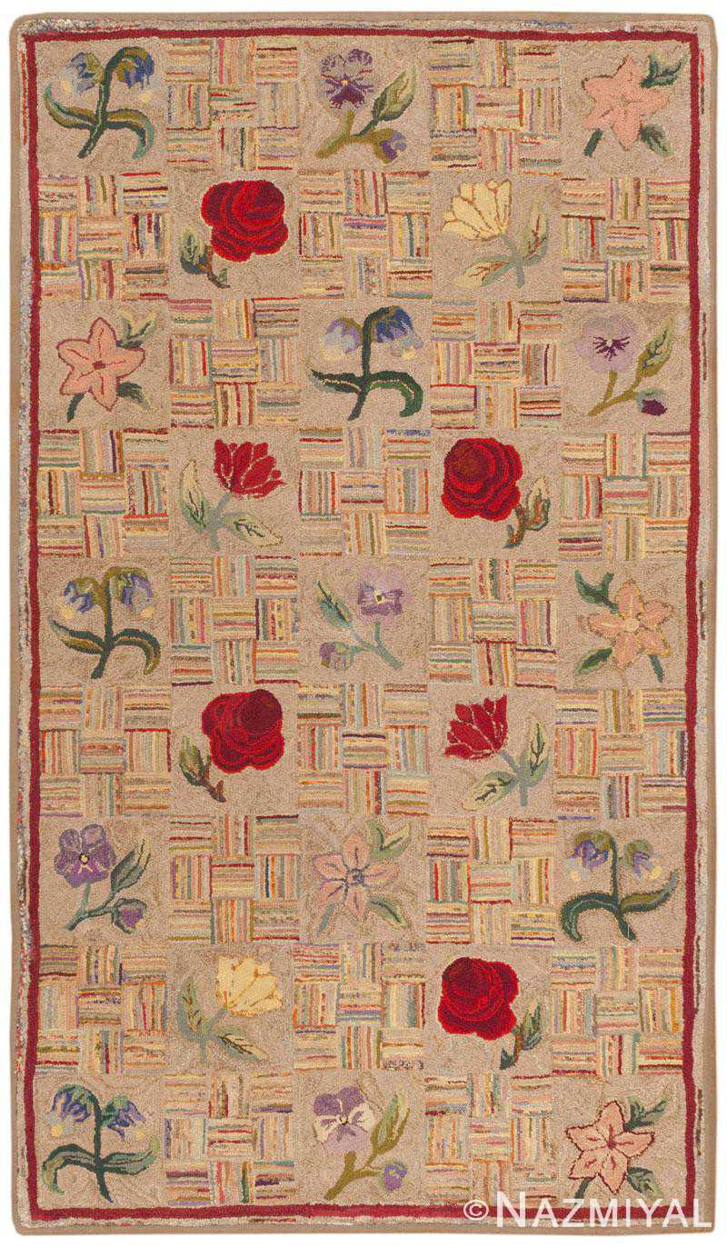 Antique American Hooked Rug 46417 Large Image