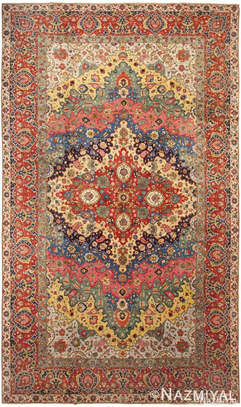 Fine Antique Persian Tabriz Area Rug 46383 by Nazmiyal Antique Rugs