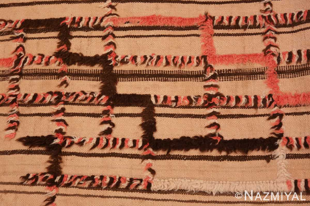 Close-up long and Narrow Vintage Kilim Moroccan rug 46513 by Nazmiyal
