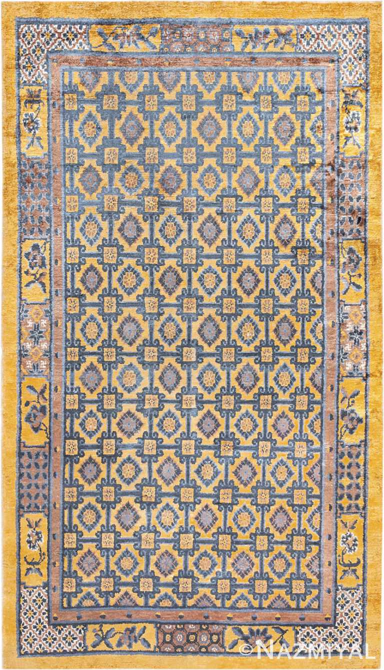 Gold Antique Silk Chinese Rug #46229 by Nazmiyal Antique Rugs