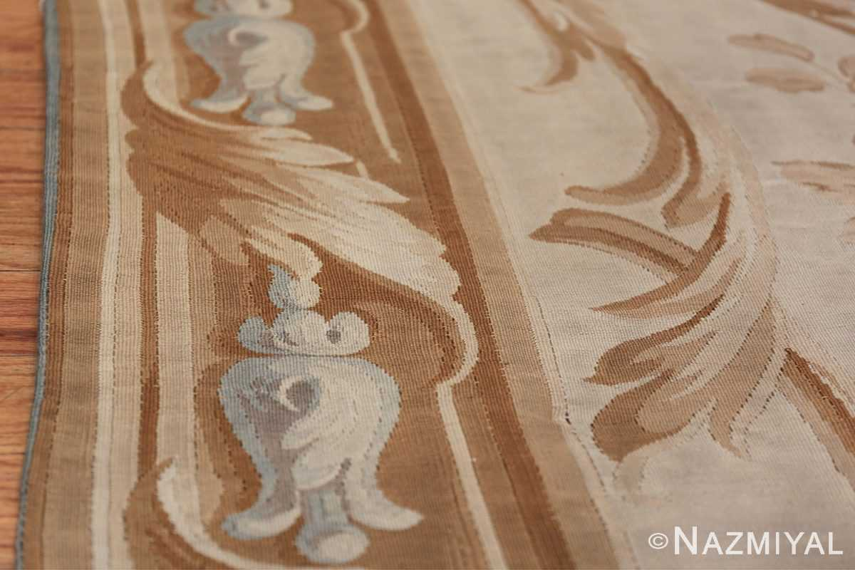 Large oversized ivory French Aubusson antique rug 46451 border design Nazmiyal