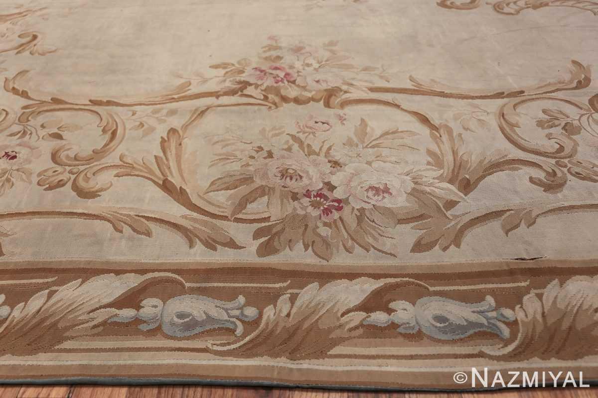 Large oversized ivory French Aubusson antique rug 46451 bunch of roses Nazmiyal
