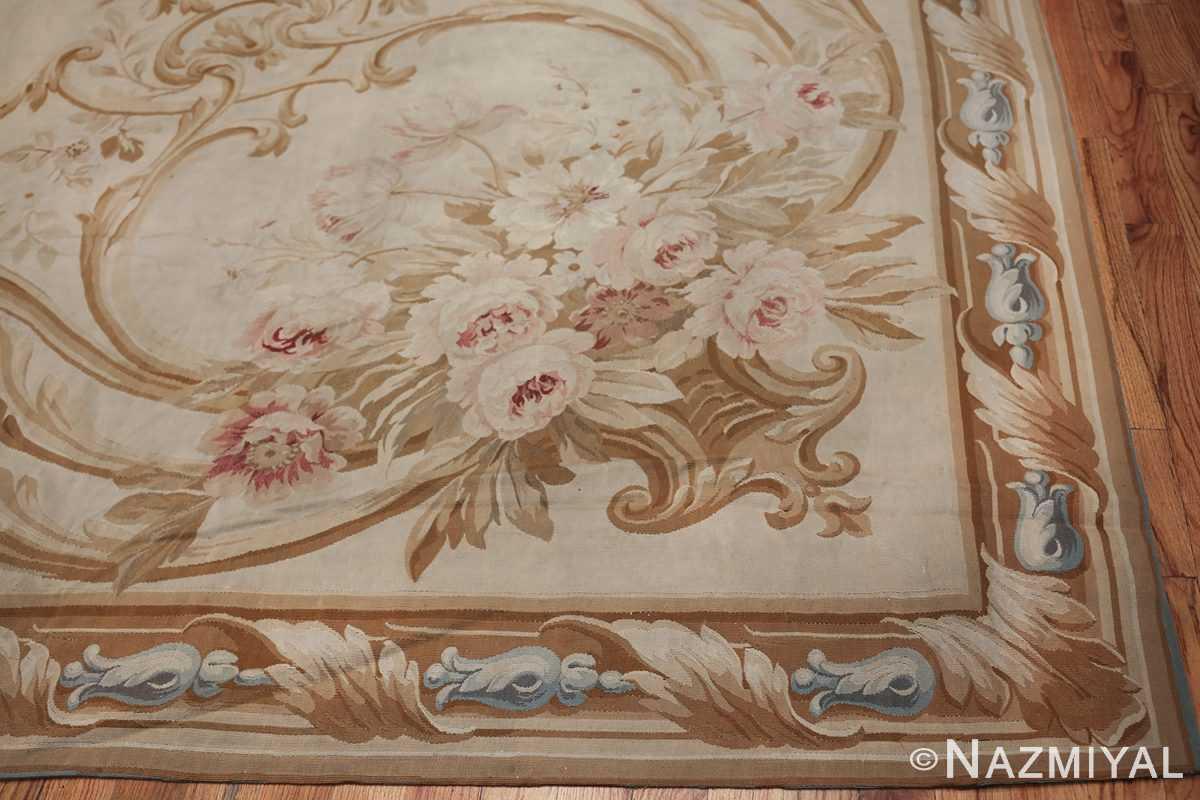 Large oversized ivory French Aubusson antique rug 46451 corner Nazmiyal