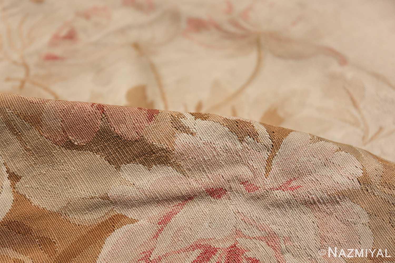 Large oversized ivory French Aubusson antique rug 46451 floral pile Nazmiyal