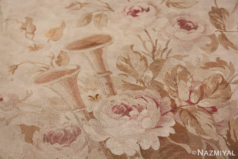 Large oversized ivory French Aubusson antique rug 46451 horns Nazmiyal