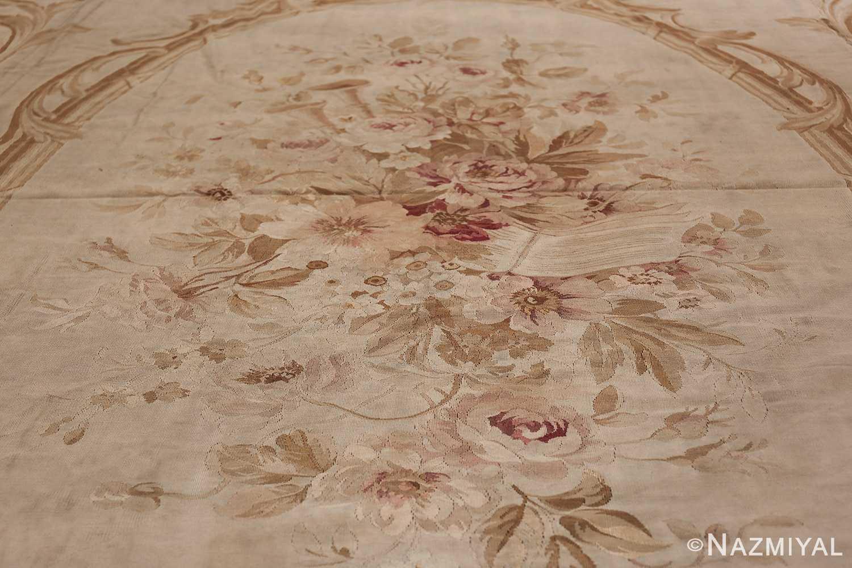 Large oversized ivory French Aubusson antique rug 46451 medallion flowers Nazmiyal