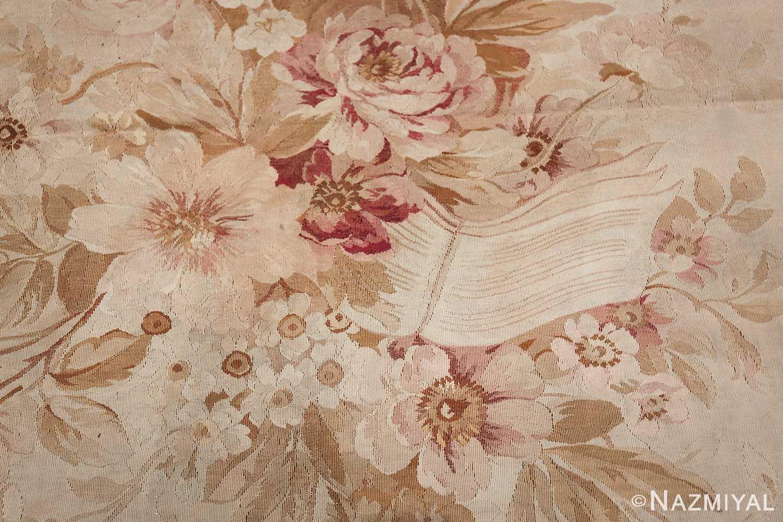 Large oversized ivory French Aubusson antique rug 46451 medallion ribbon Nazmiyal