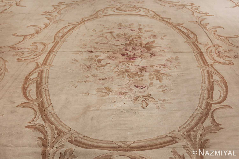 Large oversized ivory French Aubusson antique rug 46451 medallion Nazmiyal