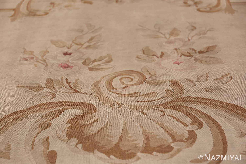 Large oversized ivory French Aubusson antique rug 46451 roses Nazmiyal
