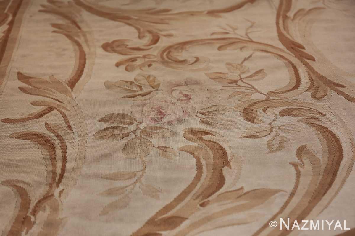 Large oversized ivory French Aubusson antique rug 46451 side design Namziyal