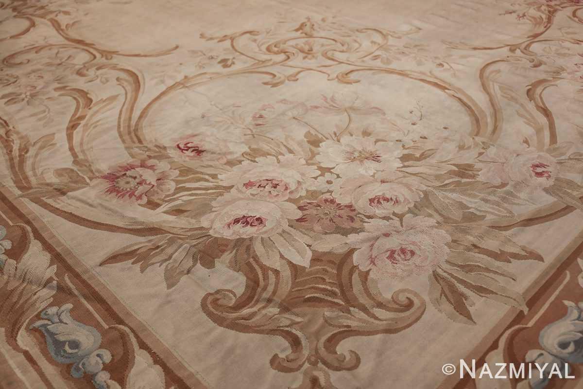 Large oversized ivory French Aubusson antique rug 46451 side vase Nazmiyal