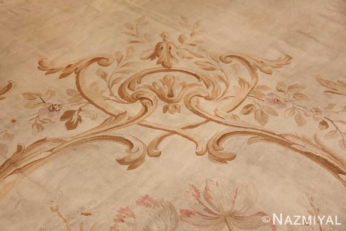 Large oversized ivory French Aubusson antique rug 46451 tiara Nazmiyal