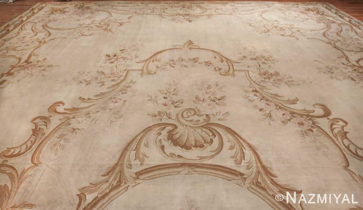 Large oversized ivory French Aubusson antique rug 46451 whole Namziyal
