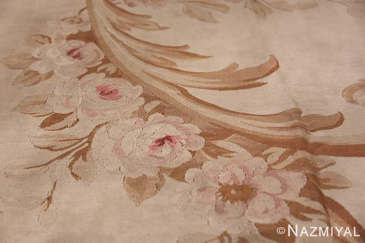 Large oversized ivory French Aubusson antique rug 46451 wreath of roses Namziyal