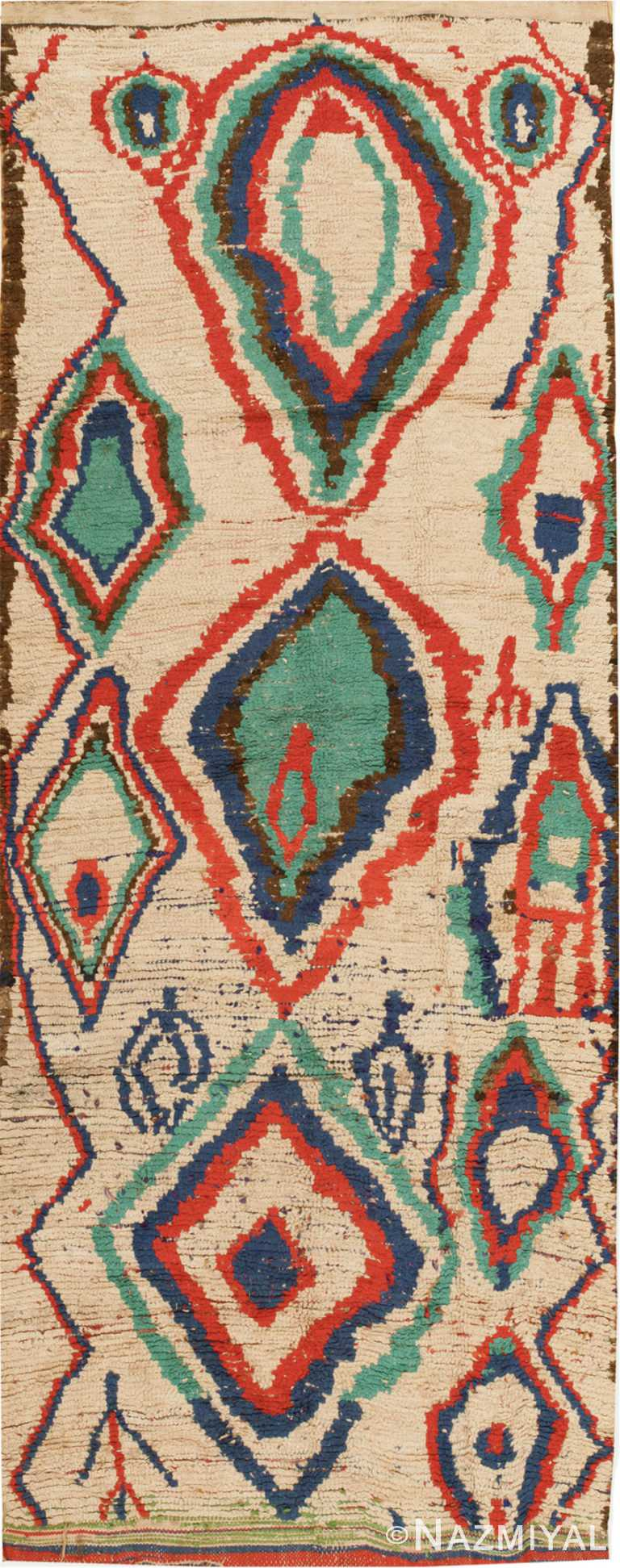 Mid Century Colorful Vintage Moroccan Rug #46515 by Nazmiyal Antique Rugs