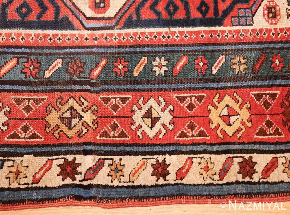 antique caucasian kazak runner rug 46425 border Nazmiyal
