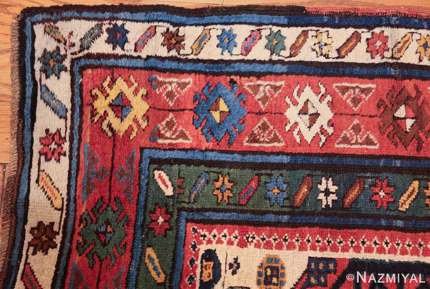 antique caucasian kazak runner rug 46425 corner Nazmiyal