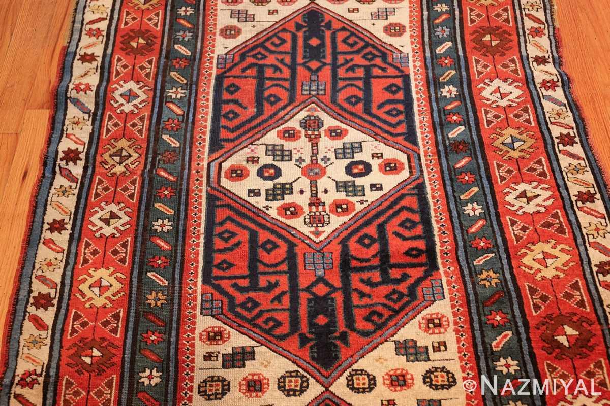 antique caucasian kazak runner rug 46425 medallion Nazmiyal