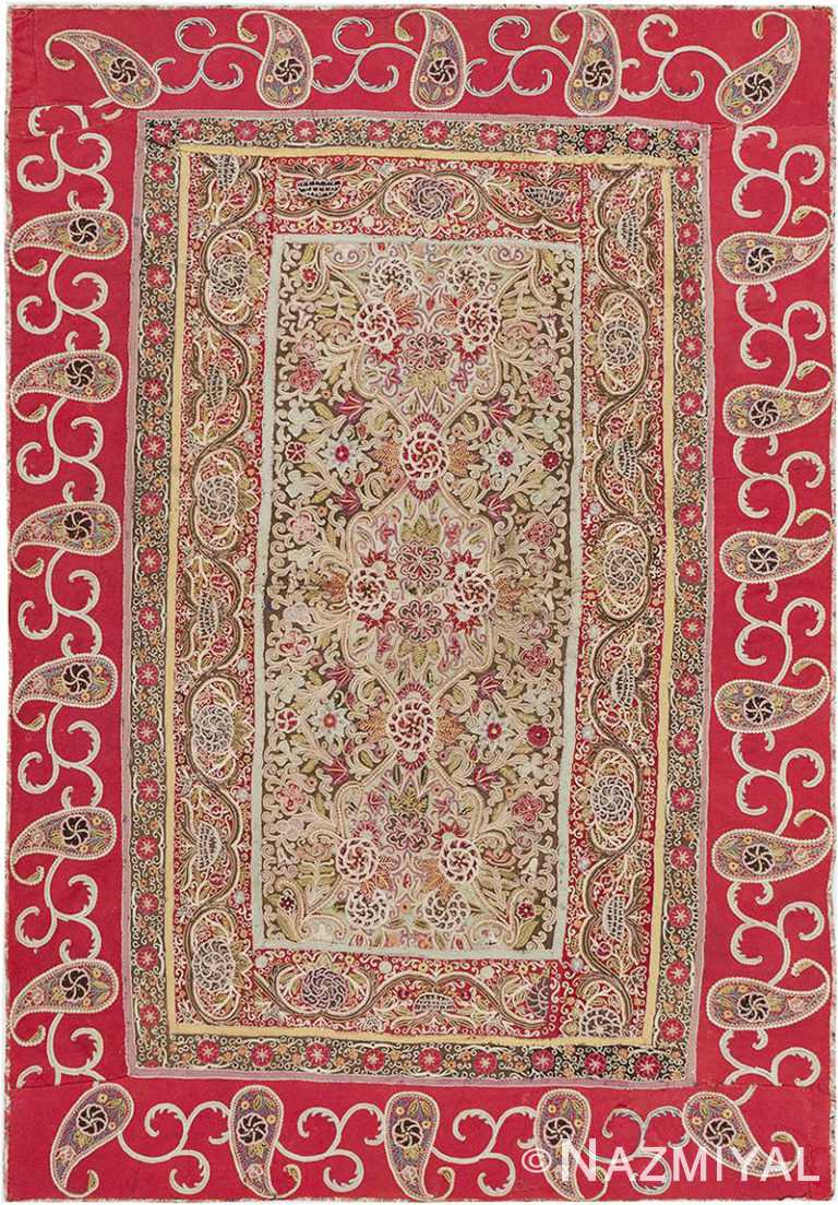 Antique Persian Rashti Embroidery Textile #46521 by Nazmiyal Antique Rugs