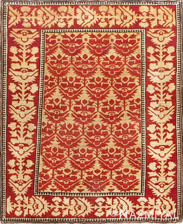 Small Scatter Size Red Antique Persian Sarouk Farahan Rug #45503 by Nazmiyal Antique Rugs