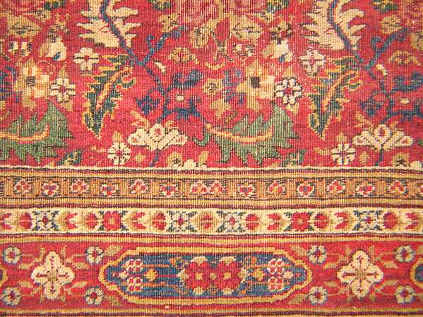 Green Detail in Antique Persian Carpet