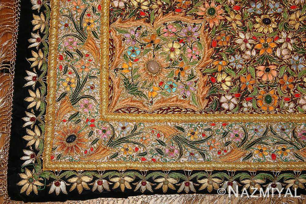 antique indian tapestry gem stone rug 46559 border Nazmiyal