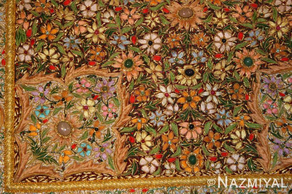 antique indian tapestry gem stone rug 46559 corner Nazmiyal