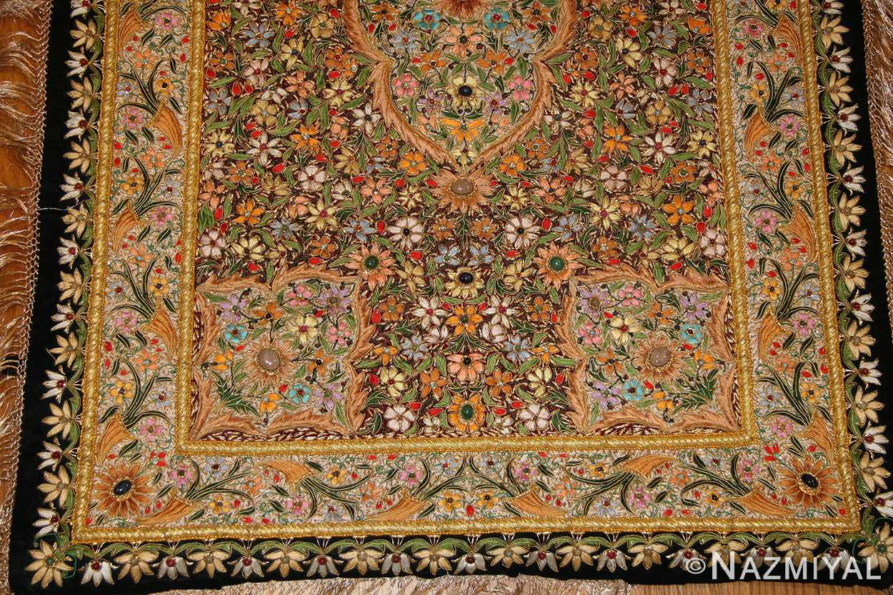 antique indian tapestry gem stone rug 46559 field Nazmiyal