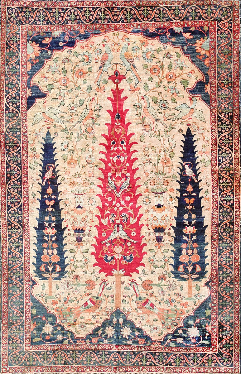 Antique Persian Silk Kerman Prayer Rug 47611 at Nazmiyal