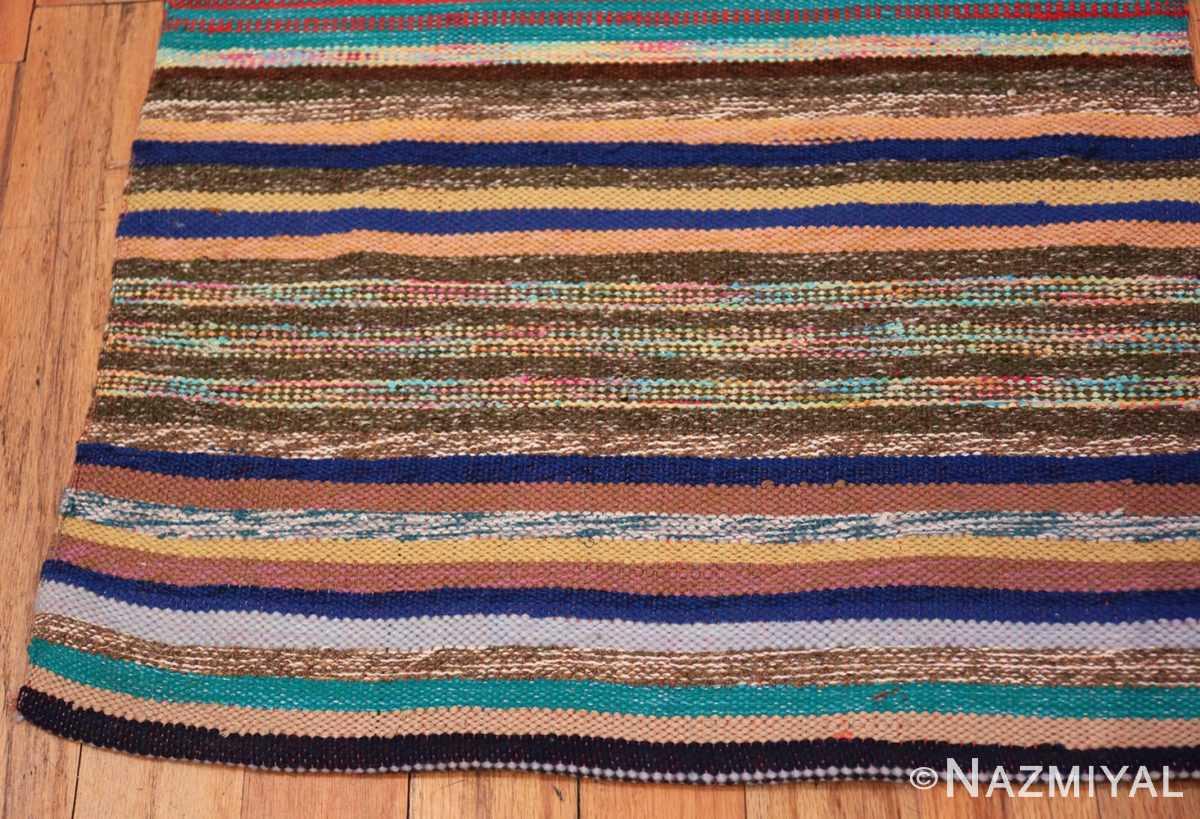 Corner Vintage Scandinavian Swedish rag rug 46665 by Nazmiyal