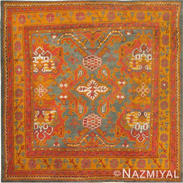 Small Square Size Antique Colorful Turkish Oushak Area Rug #46697 by Nazmiyal Antique Rugs